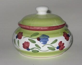 Hand Painted Majolica Sugar Bowl Caleca Italian Ceramic Flowered Fun Trinket Container