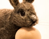 Needle felted Rabbit, Bunny, Cottontail, Fiber Art, Felted Animal, Easter Bunny