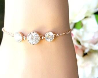 ROSE GOLD Bracelet, Gold bracelet, Wedding Bracelet, Drop, bridesmaid gift, bridal gift, Clear, bridesmaid jewerly, wedding jewrly, gift