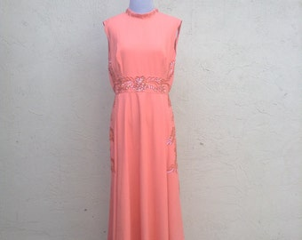 Womens peach maxi dress, vintage coral gown, 80s inspired, ball gown, cocktail maxi, maid of honor, sequins, handmade, size M
