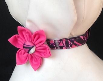 Dog Collar Flower Set - Muddy Girl - Size XS, S, M, L, XL
