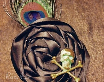 Antiqued Skull Rosette, Hair Accessory