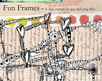 Fun Frames -- 6 doodle frame digi stamps in jpg and png files