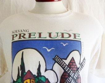 vintage 90's Solvang Prelude November 4th, 1995 Bike Ride cream natural white graphic t-shirt multicolor front back logo print crew large