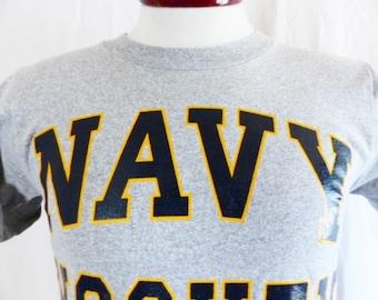 vintage 80's United States U.S. Navy Hockey heather grey graphic t-shirt black gold yellow block letter curve logo print military slim small