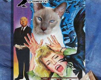 Siamese Cat Fine Art Canvas Print - The Birds Movie Poster NEW COLLECTION