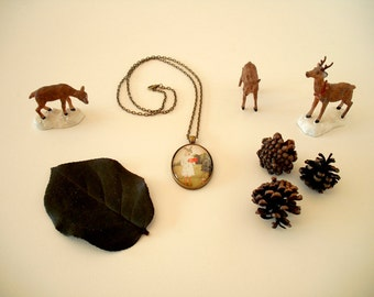 "Wearable Art by Gretchen Ellen Powers: Emma Deer necklace pendant 24"" chain - glass jewelry, pink, fashion, vintage, woodland, forest, sweet"