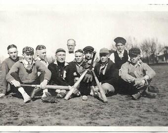 Old Photo Group of Men Baseball in Field Baseball Bats Mitts Ball 1910s Photograph snapshot vintage