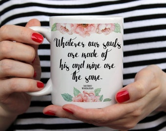 Wuthering Heights | Romantic Floral | 11 Oz | White Ceramic Coffee Mug | Great Gift for Birthdays, Anniversary, Wedding, Housewarming