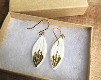 Medium Gold Leaf Earrings *Ships FREE in U.S.*
