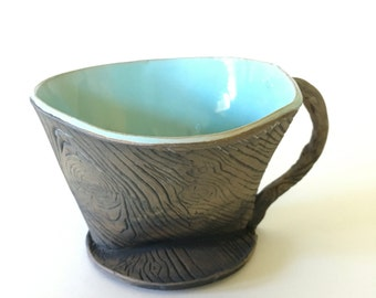 Handmade Ceramic Coffee Pour Over / Faux Bois Wood Grain and Blue Pottery