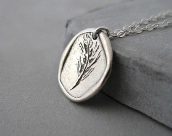 Minimal Silver Necklace - Coin Necklace - Minimal Necklace - Hand Engraved Oat