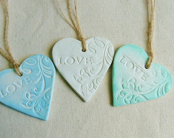 10 Ceramic LOVE Tags, Wedding  Favor Tags, Wedding Clay Tag