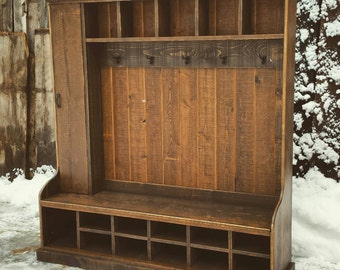 Rustic Reclaimed  Hall Tree Locker Bench