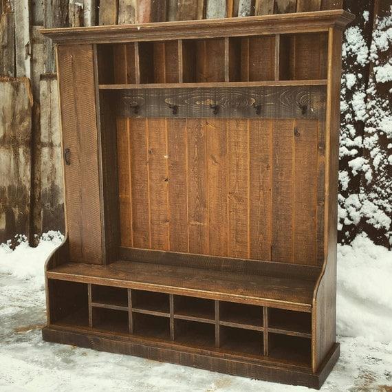 Rustic Reclaimed Hall Tree Locker Bench by EchoPeakDesign on Etsy