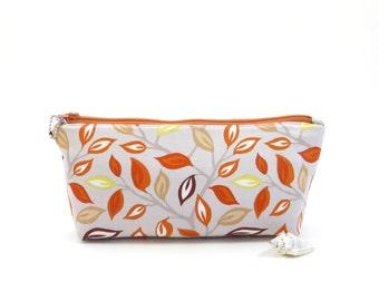 Leaf print gray fabric zipper bag, gray zipper pouch, leaf print cosmetic bag, gray storage pouch, organizer bag, small gray pouch