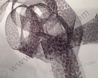 Leopard print, sheer ribbon, only 2 1/2 yards left :(