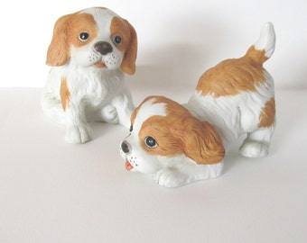 Vintage porcelain dogs puppy figurines Homco figurine