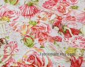 Shabby Chic Floral Linen Fabric Cloth-  Red Green The Flower Child Lunlun And Flower  - 1/2 yard