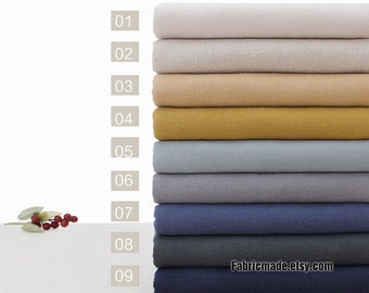 Plain Linen Fabric Solid Cotton Linen Fabric Solid Grey Brown Blue Red Pink Purple Tan Green Black Natural Beige Yellow Fabric - 1/2 yard