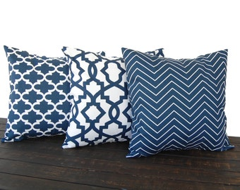 Set of three Throw Pillow covers, Pillow Covers, Cushion, Decorative Pillow, Premier Navy Blue White contemporary geometric modern decor