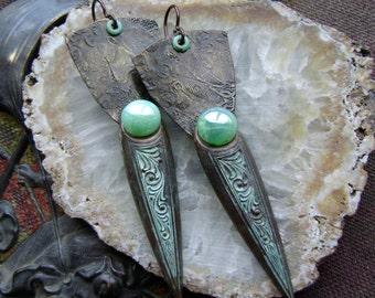 Verdigris Daggers, assemblage earrings, mixed media jewelry, Czech glass, verdigris patina, bohemian artisan jewelry, ooak, AnvilArtifacts