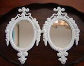 White ornate wall mirrors small mirrors metal made in Italy mirrors hand painted white ready to hang 2 pc set