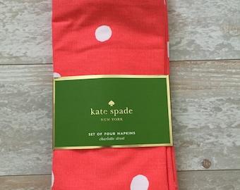 Monogrammed Kate Spade Coral Dots Napkin Set - Monogrammed Napkins - Personalized Napkins - Cloth Napkins - Hostess Gift - Bridesmaid Gift