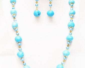 Light Blue Resin Chunks w/Textured Glass Beaded Necklace/Earrings Set