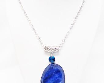Large Blue Agate Druzy Pendant Necklace