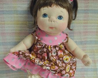 "Fretta's OOAK life size 48 cm / 19"" Soft Sculpture Baby. Light Brown Hair, Blue Eyes. Child-SafeTextile Baby Doll"
