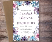 Bridal Shower Invitation, Watercolor Floral Wedding Shower Invite Modern Watercolor Flowers Wedding DiY Printable- Jasmine