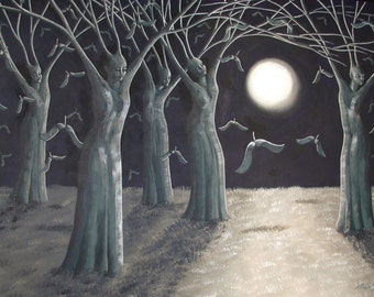 Sowing Seeds Surreal Fine Art Fantasy Landscape Print, Tree of Life, Moonlight, Full Moon