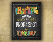 Photo Booth Sign   PRINTED Fiesta Party Decorations, Cinco de Mayo Decorations, Fiesta Wedding Photobooth, Taco Party sign, Graduation Sign