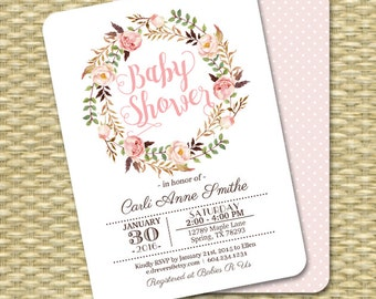 Printable Baby Shower Invitation Baby Girl Shower Blush Pink Watercolor Floral Baby Sprinkle Any Event PRINTING AVAILABLE