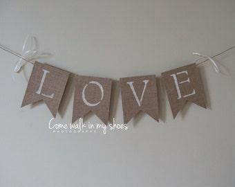 Rustic burlap love banner. Burlap love banner. Valentine Banner. Wedding love banner.