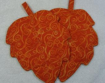 Designer Leaf Quilted Pot Holder set of 2 Hot Pads Trivet Ready to ship