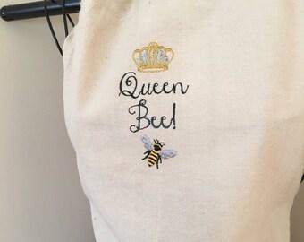 Queen Bee Apron | Monogram Kitchen Apron | Queen Bee Gift | Shabby Chic | Full Half Apron | Queen Bee Monogram | Bumble