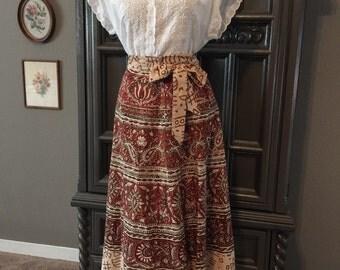 "70s India Batik Cotton Wrap Skirt 29"" waist"