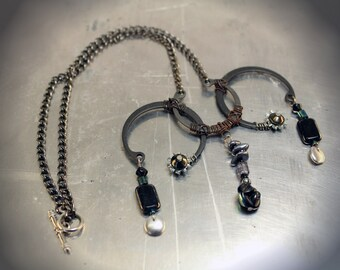 Black and Silver Steampunk Fashindustral Chain Necklace Pendant