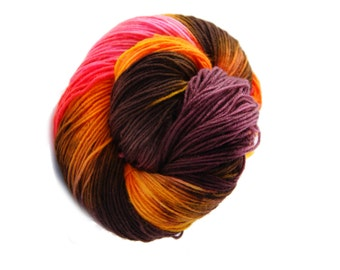 Handpainted Yarn - Fingering  Yarn Mulitcolor - Sock Yarn - Hand-dyed Yarn for Socks- brown, yellow, bordeaux,orange -  knitting - hand dyed