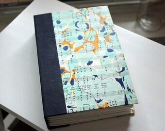 Handmade Blank Book - Notebook, Travel Journal, Art Journal, Guest Book - Hand-Marbled Hard Cover - item #87/100