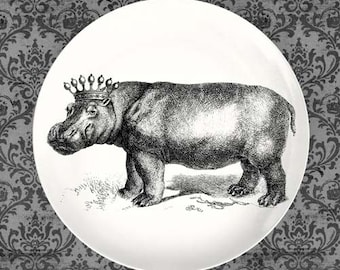 Crowned Hippo melamine plate