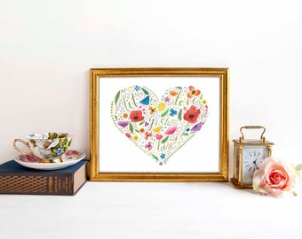 Floral Heart Let Love Grow Here 8x10 Art Print Watercolor