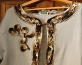 Customized Sweatshirt Jacket in Light Beige with Crocheted Brown and White Edging - Sweatshirt Jacket for Women