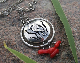Sea Horse, Kelp, Red Bamboo Coral and Sterling Silver Essential Oil Pendant. Unique Aromatherapy Diffuser Necklace. Sea, Ocean, Hippocampus