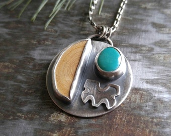 Ash Wood and Turquoise Sterling Silver Pendant. Stamped Silver, Wood, Green Turquoise. Natural Wood Diffuser Pendant. Essential Oil Necklace