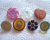Czech  Glass Buttons  7 pcs   GORGEOUS    special order for  Jules