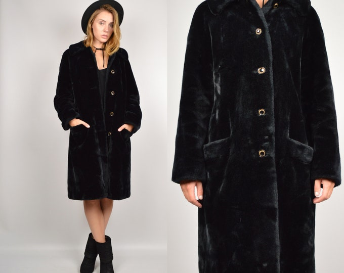 70's Black Faux Fur Winter Coat Vintage minimalist