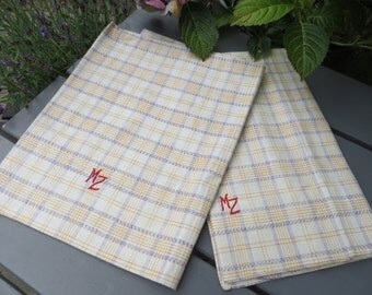 Pair Pillow Cases White Linen Cotton Check Pillowcases Lavender Orange Stripes  Euro Pillow Shams Covers  Upholstery Plaid Kelsch  Cottage